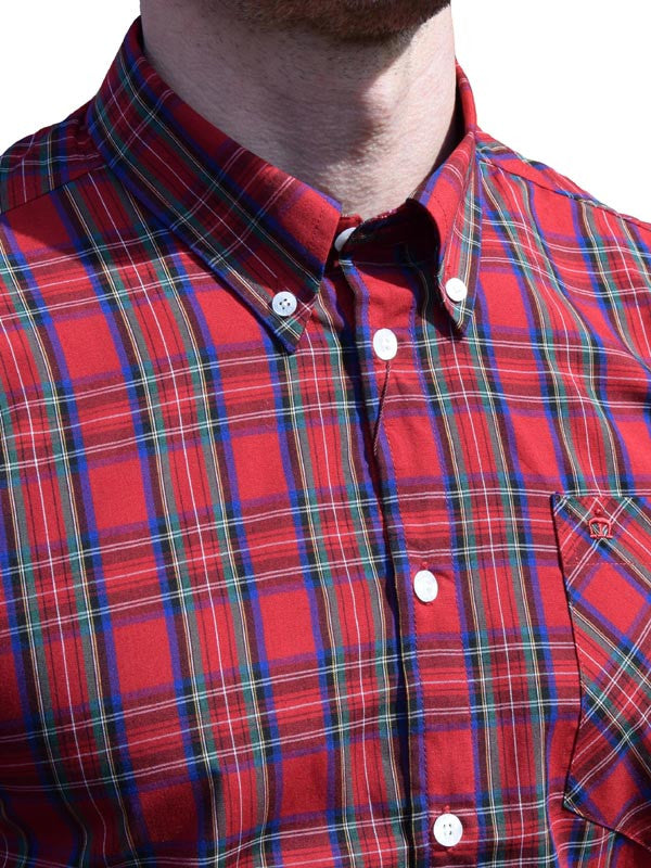 Merc Stewart Red Tartan Short Sleeve Shirt