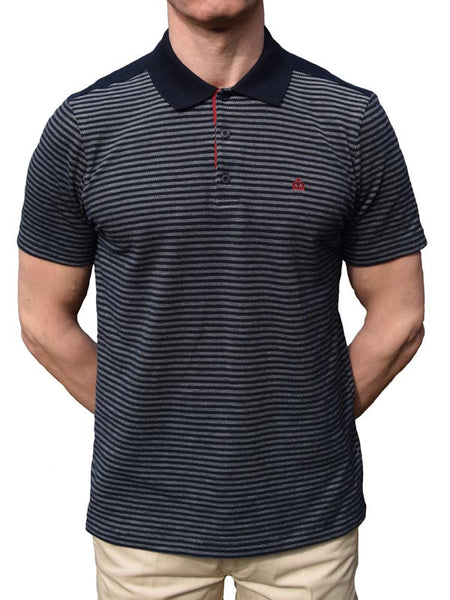 Merc Navy Striped Polo