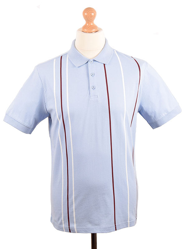 Merc Sky Blue Striped Polo Shirt