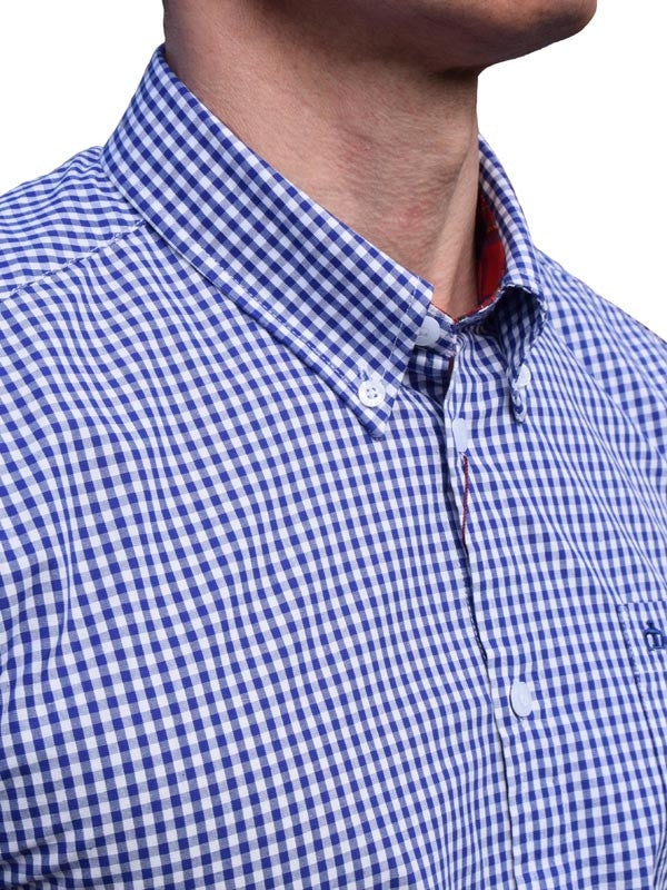 Merc Royale Blue Gingham Short Sleeve Shirt