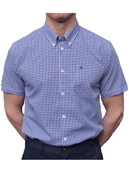 ead8b94ffbb Merc Royale Blue Gingham Short Sleeve Shirt