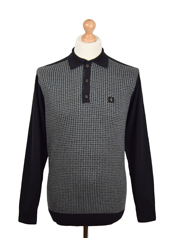 Gabicci Vintage Black Basket Check Front Polo Shirt