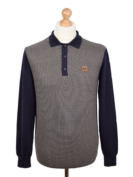 Trojan Records Navy Textured Stripe Polo Shirt