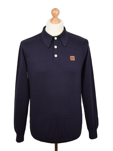 Trojan Records Navy Spear Point Collar Polo Shirt