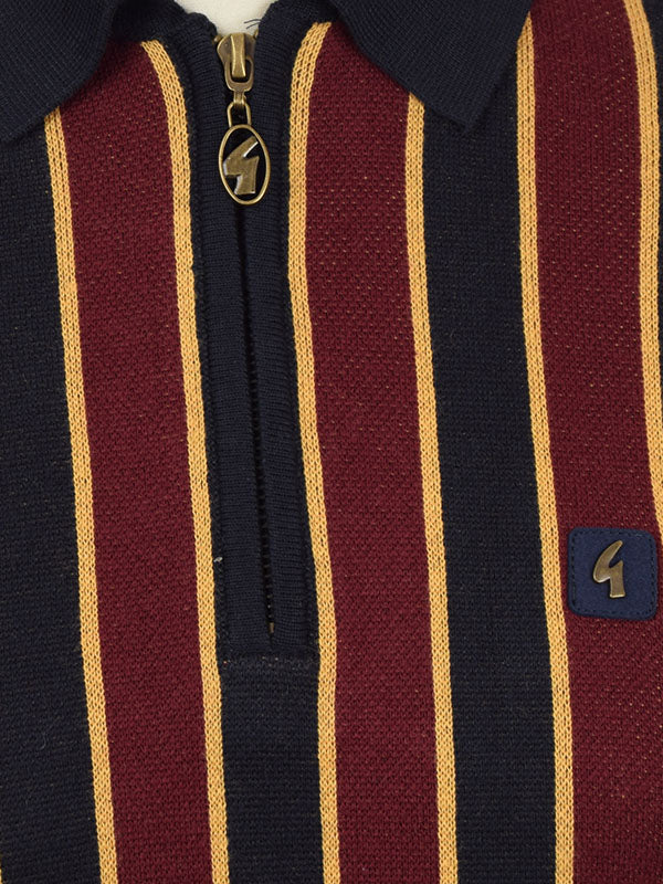 Gabicci Vintage Navy Stripe Half Zip Polo Shirt