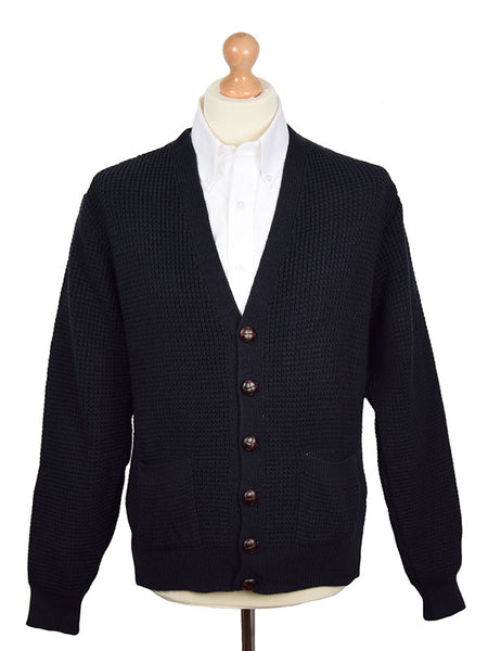 Relco Navy Waffle Knit Cardigan