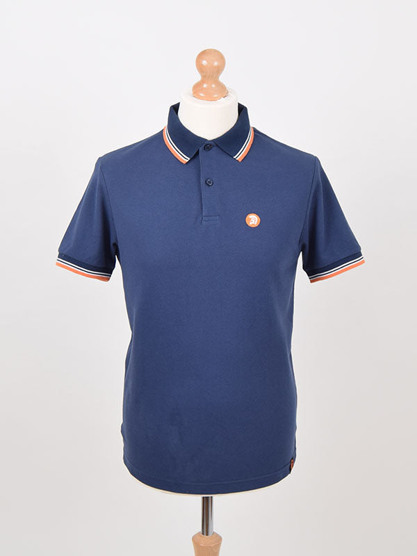 Trojan Records Navy Tipped Signature Polo Shirt