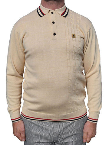Gabicci Vintage Oat Cable Knit Tipped Polo Shirt