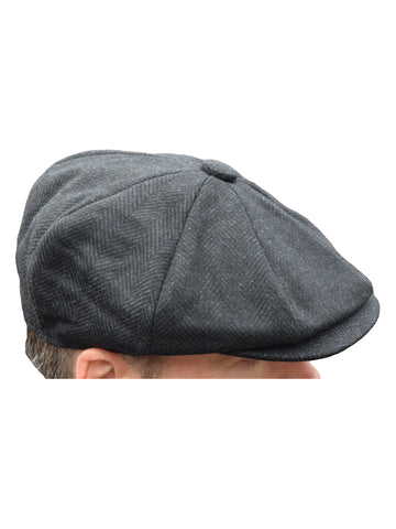 Peaky Blinders Black Herringbone Newsboy Cap