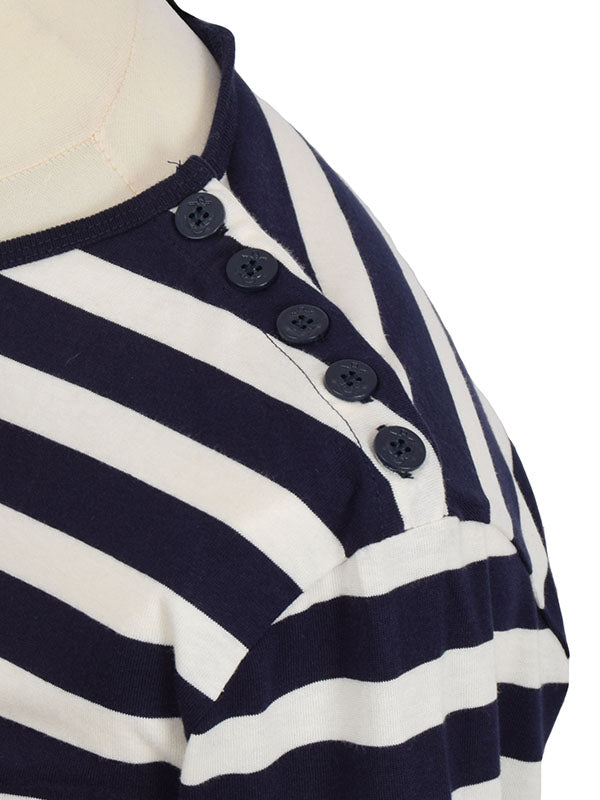 Pop Boutique Navy & White Striped Long Sleeve Breton