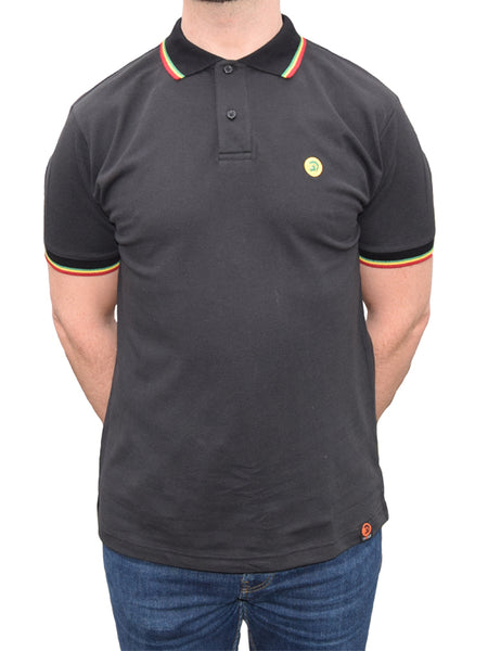 Trojan Records Black Tipped Rasta Polo Shirt