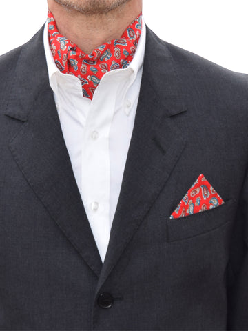 The Dapper Cravat Red Paisley Cravat & Handkerchief