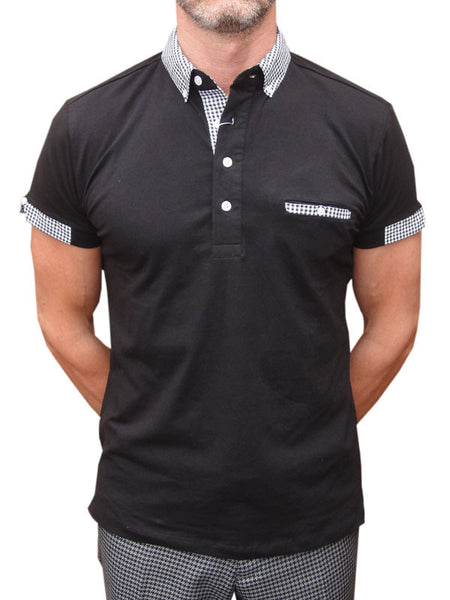 40f95ea0803 Relco Black Gingham Polo Shirt
