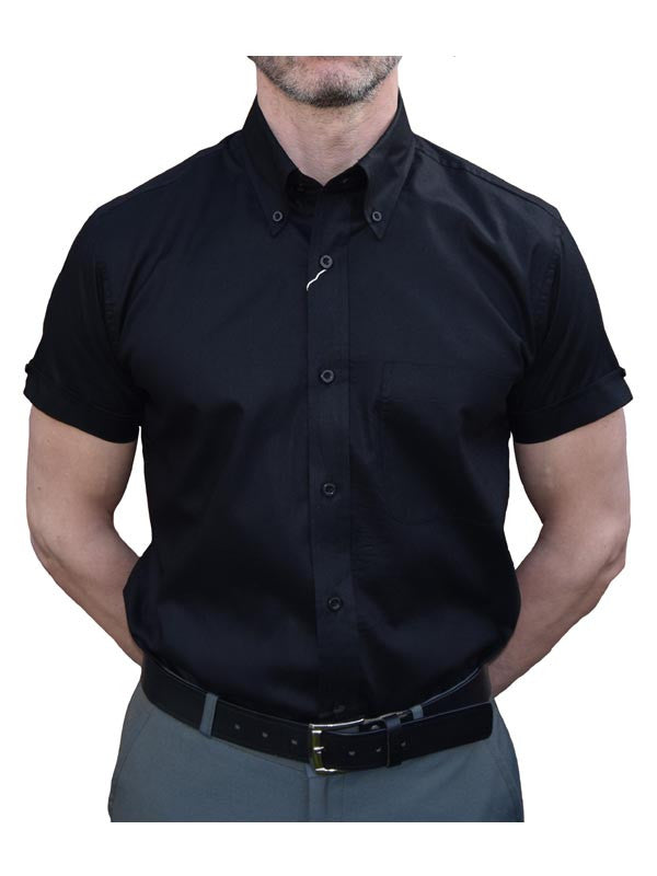 Relco Black Oxford Short Sleeve Shirt