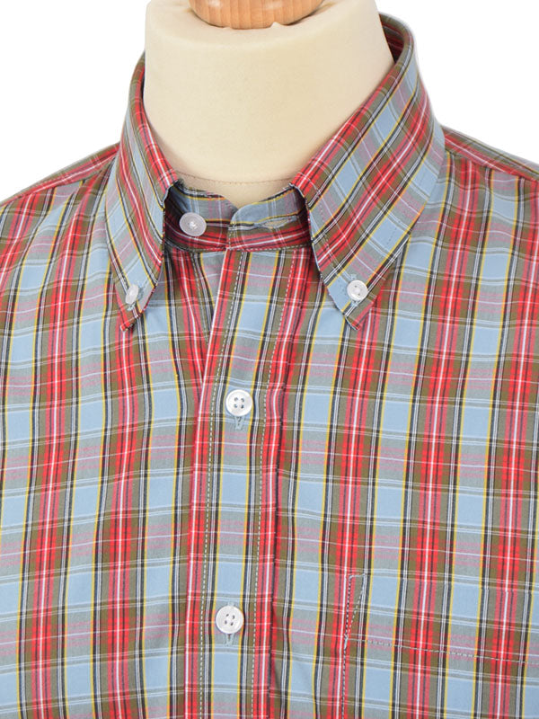Relco Sky Blue & Red Tartan Shirt