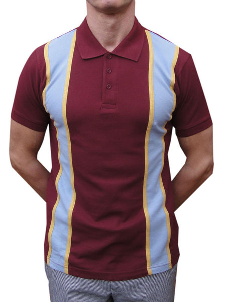 Relco Burgundy Yellow & Sky Blue Striped Polo Shirt