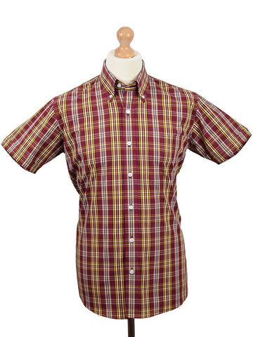 Relco Burgundy & Mustard Check Shirt