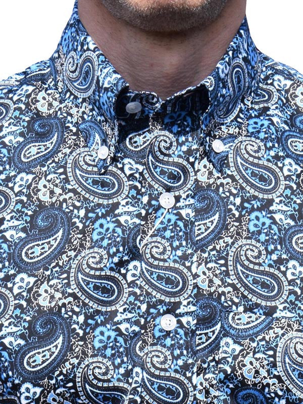 Relco Navy & Blue Platinum Paisley Shirt