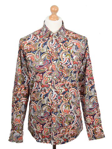 Relco Navy Green & Red Paisley Shirt
