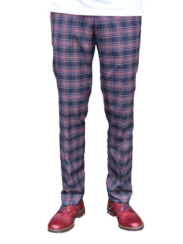 Relco Navy Red & Yellow Tartan Sta Press Trousers