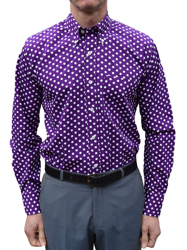 Relco Purple & White Polka Dot Shirt