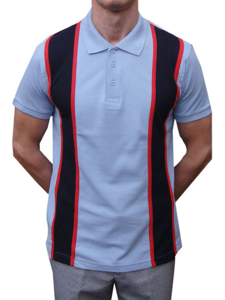 Relco Sky Blue Red & Navy Striped Polo Shirt