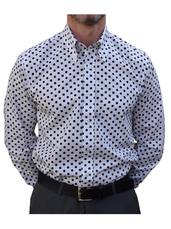 Relco White & Navy Polka Dot Shirt