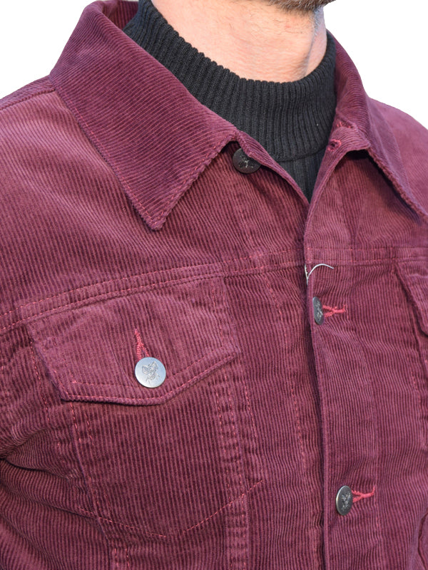 Run & Fly Burgundy Corduroy Western Jacket
