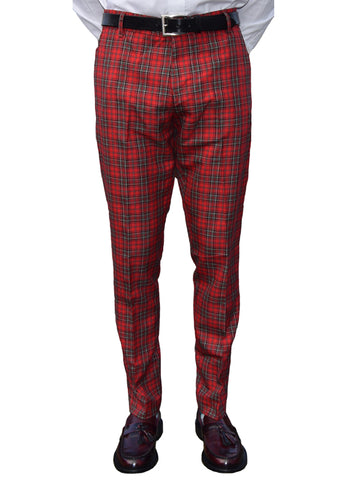 Run & Fly Red Tartan Sta Press Trousers