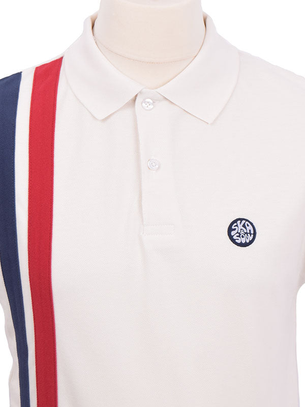 Ska & Soul Ecru Racing Stripes Polo