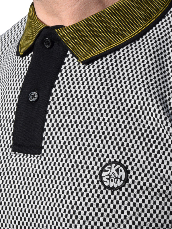 Ska & Soul Black Chequerboard Front Panel Polo