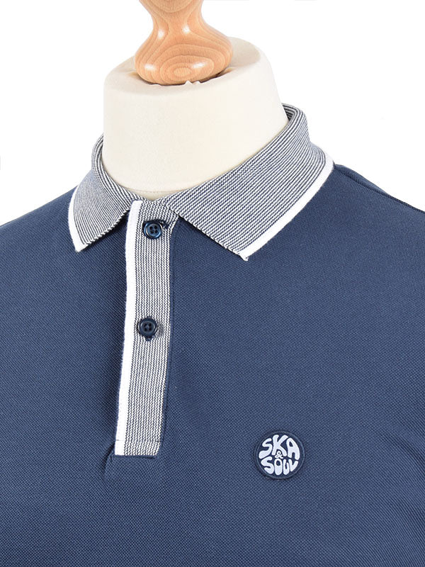 Ska & Soul Navy Fine Stripe Polo