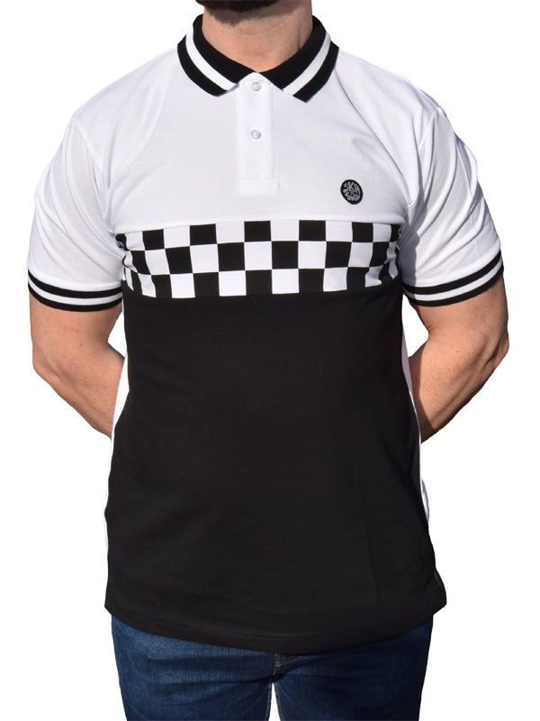 Ska & Soul White Chequerboard Front Pique Polo