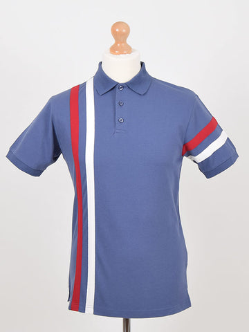 Ska & Soul Dark Blue Twin Stripe Pique Polo Shirt