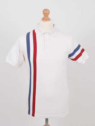 Ska & Soul Ecru Twin Stripe Pique Polo Shirt