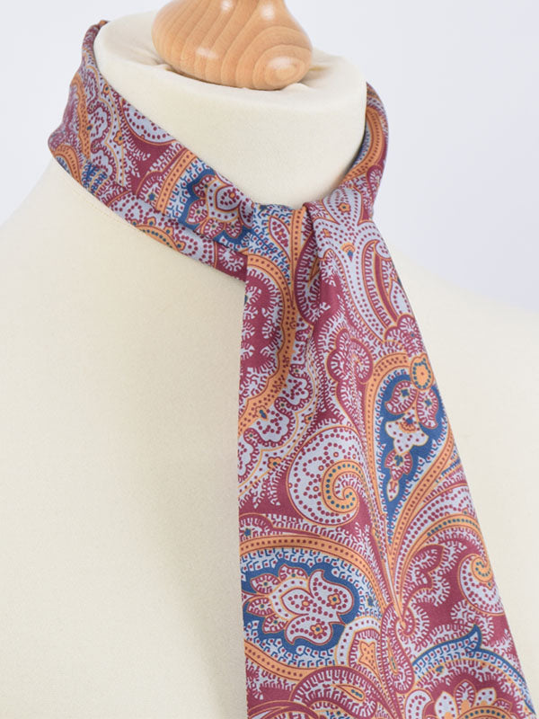 Soho Scarves Burgundy Blue & Orange Paisley Contrast Scarf