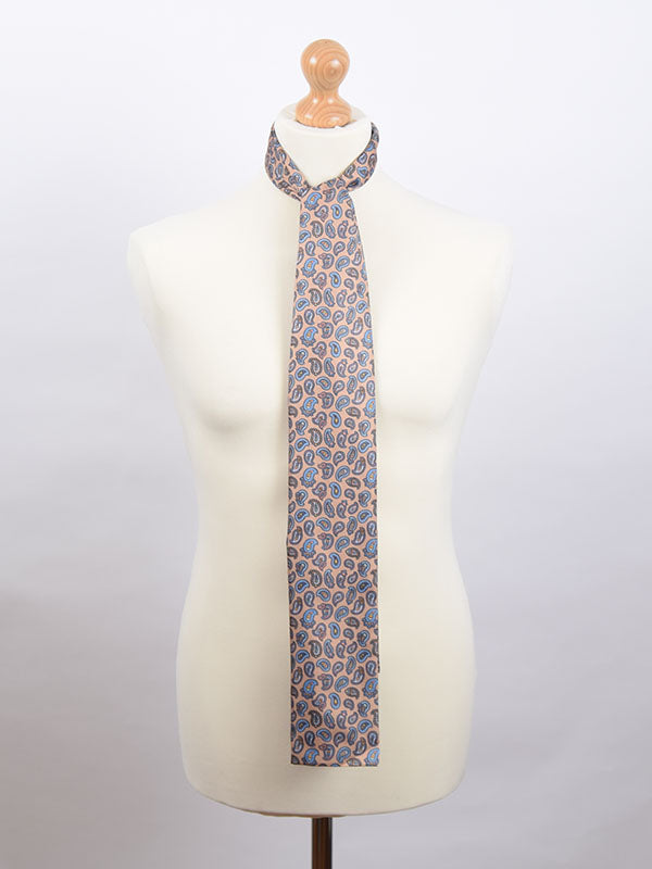 Soho Scarves Light Brown & Blue Paisley Scarf