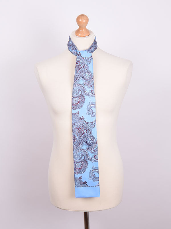 Soho Scarves Claret & Blue Paisley Contrast Scarf
