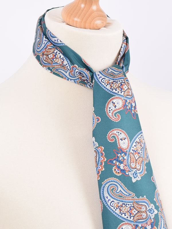 Soho Scarves Green Blue & Gold Paisley Scarf