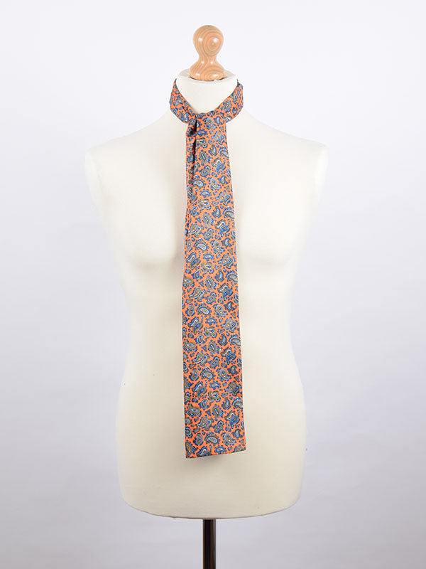 Soho Scarves Orange & Blue Paisley Scarf