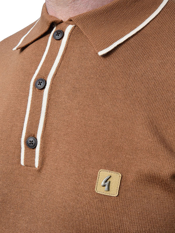 Gabicci Vintage Toffee Tipped Polo Shirt