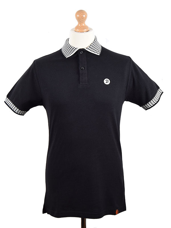 Trojan Records Black Houndstooth Trim Pique Polo Shirt