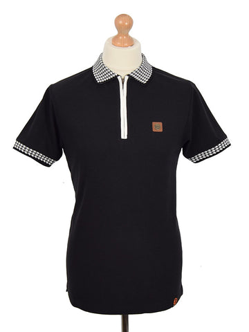 Trojan Records Black Houndstooth Trim Zip Polo Shirt