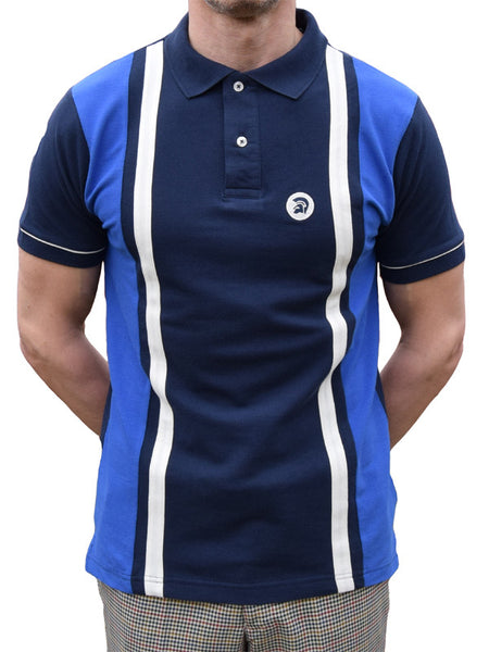 Trojan Records Navy & Blue Striped Polo Shirt