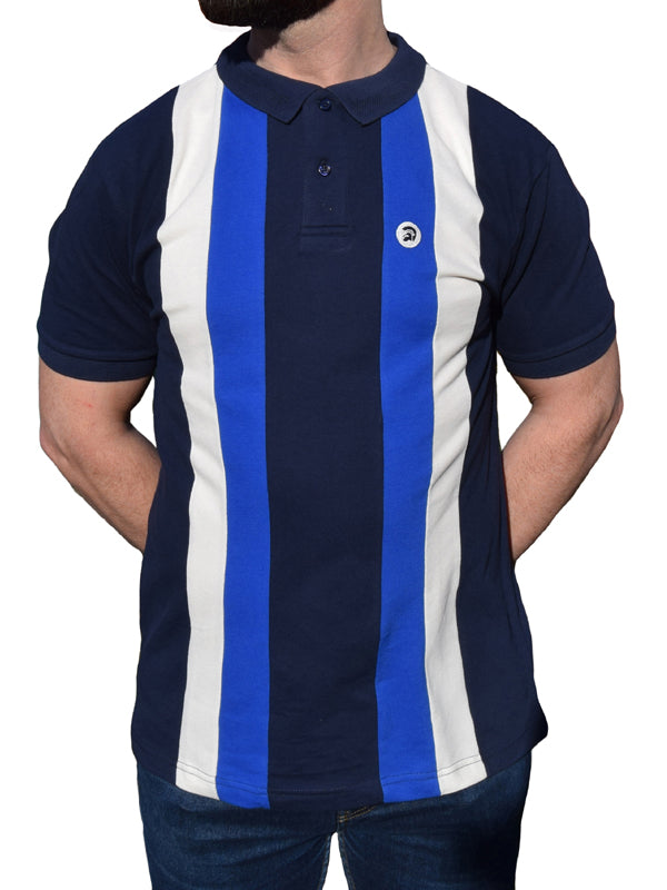 Trojan Records Navy Stripe Front Pique Polo Shirt