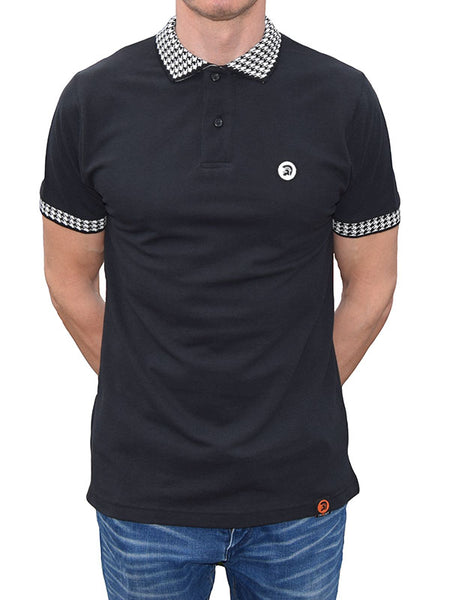 Trojan Records Black Houndstooth Trim Polo Shirt