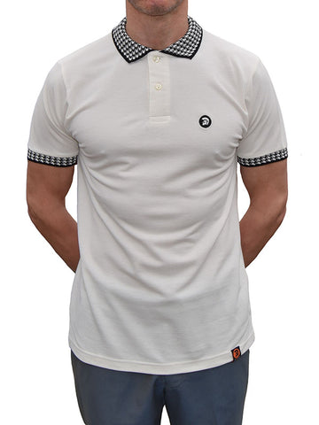 Trojan Records Ecru Houndstooth Trim Polo Shirt