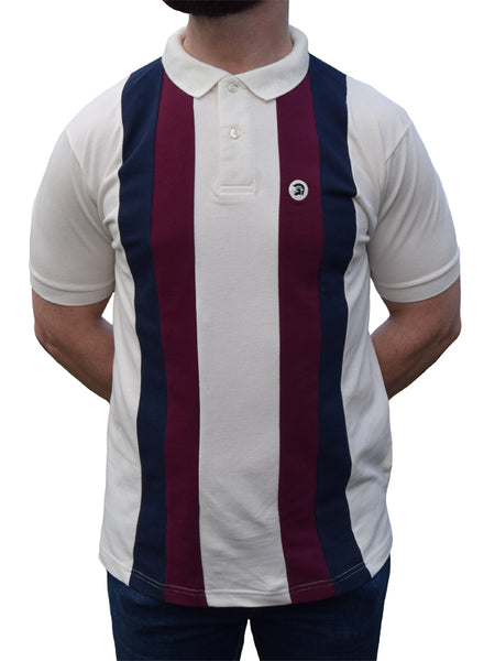 Trojan Records Ecru Navy & Burgundy Stripe Front Pique Polo Shirt