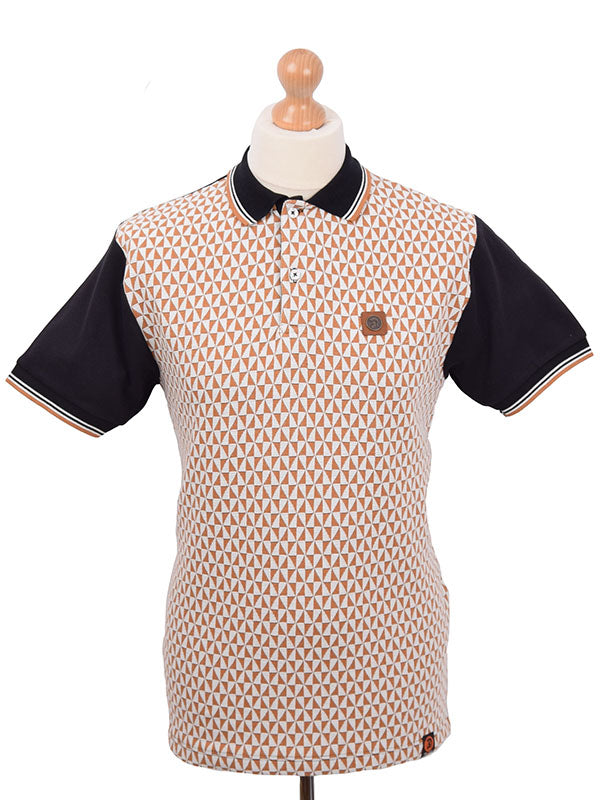 Trojan Records Black Jacquard Diamond Panel Polo Shirt