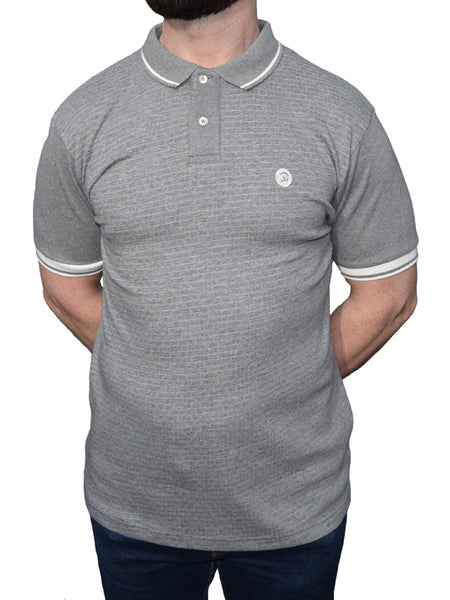 Trojan Records Melange Grey Self-Check Front Polo Shirt